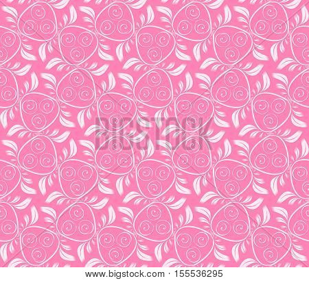 Seamless abstract vegetable pattern pink. A one-color background with a light ornament. Basis for design for fabric packing paper web etc.