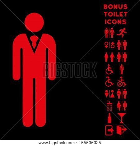 Gentleman icon and bonus gentleman and lady toilet symbols. Vector illustration style is flat iconic symbols, red color, black background.