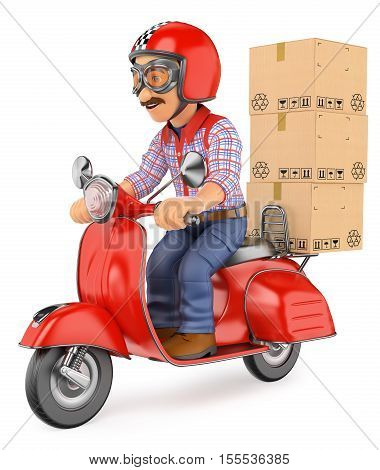 3d working people illustration. Courier delivery man delivering a package by scooter motorcycle. Isolated white background.