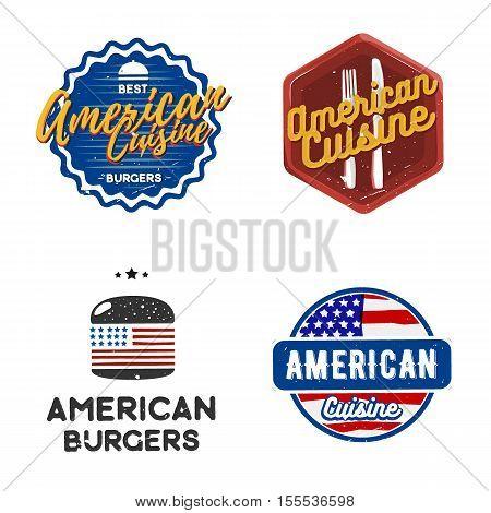 Creative set of american cuisine logo design. Vector illustration. American cuisine labels used for advertising restaurant, snack bar or street food menu.