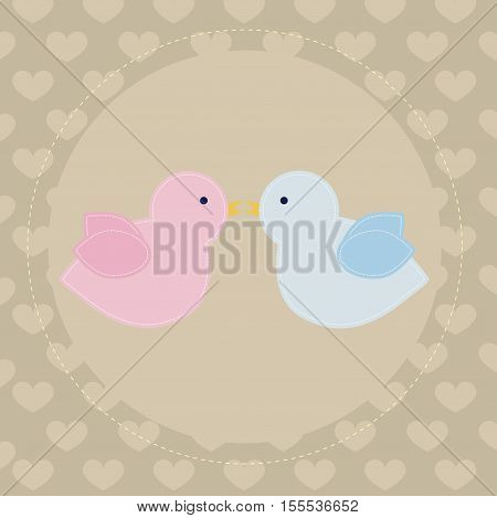 cute baby poster with a couple of birds on the background with hearts. Template for greeting card or scrapbook page album. Pattern for decoration or design. Baby vector illustration
