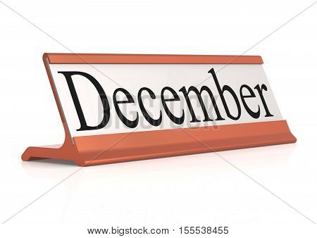 December Word On Table Tag Isolated