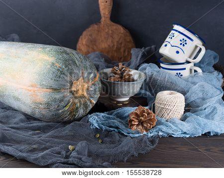Thanksgiving Mood Still Life With Pumpkin. Dark Colors