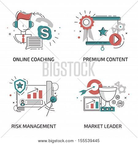 Line Flat Design for Online Coaching, Premium Content, Risk Management, Market Leader. Flat line design for Website Element and Web Banner and promotional materials. Isolated on white background.