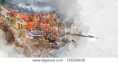 Digital watercolor painting of Manarola. Manarola is a small coastal village in the Italian region of Liguria Cinque Terre. Province of La Spezia. Italy