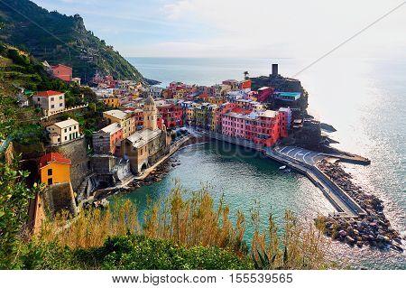 Aerial view to the Vernazza. Small coastal village in the Italian region of Liguria Cinque Terre. Province of La Spezia. UNESCO World Heritage List. Italy