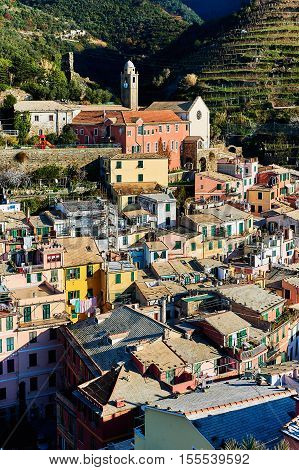 Ancient architecture of Vernazza. Vernazza is a small coastal village in the Italian region of Liguria Cinque Terre. Province of La Spezia. UNESCO World Heritage List. Italy