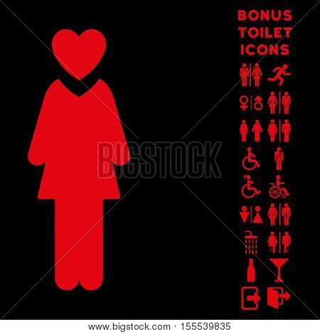 Mistress icon and bonus gentleman and woman restroom symbols. Vector illustration style is flat iconic symbols, red color, black background.