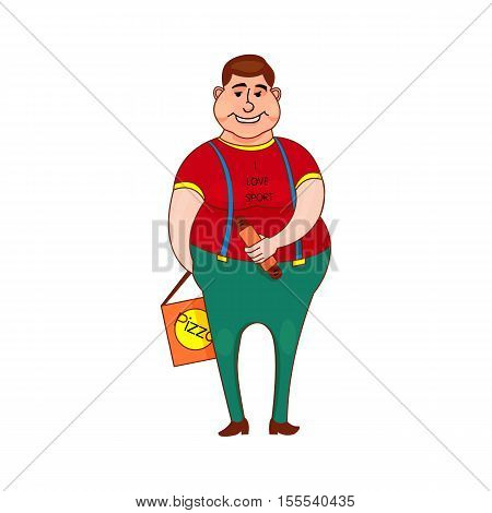 Young fat kid with the hot dog and pizza in a T-shirt, I love the sport isolated on white background in the style outline, cartoon character, concept of healthy food