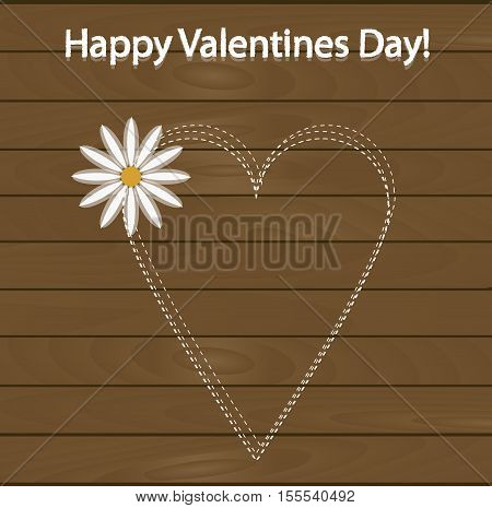 festive poster happy Valentine's day. Pattern to decorate or design a greeting card or page for your scrapbook album or gift. Heart with chalk on the background of wooden boards with a flower. Beautiful vector illustration