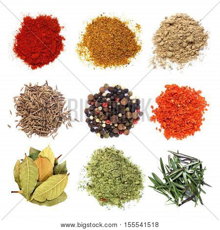 Various spices set isolated on white background