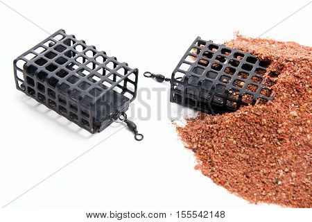 Dry Feed For Carp Fishing As Background. Different Fishing Feeder On Fishing Feed.