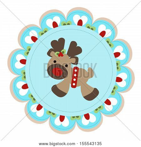 cute baby template for greetings on Christmas or new year. Little deer flower in round frame. The icon for decoration or design greeting cards. Vector illustration. Baby shower or arrival