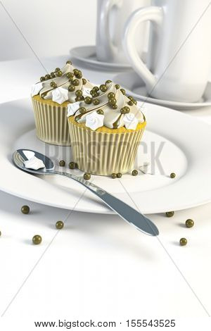 3d rendering of two delicious cupcakes on a plate