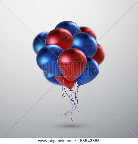 Vector festive illustration of flying realistic glossy balloons. Red and blue balloon bunch. Decoration element for holiday event invitation design