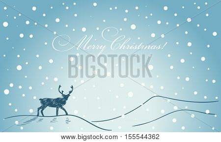 Christmas card hand drawn reindeer silhouette on blue winter background