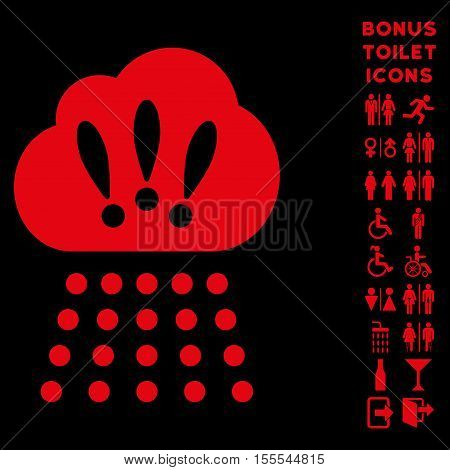 Storm Cloud icon and bonus man and woman toilet symbols. Vector illustration style is flat iconic symbols, red color, black background.