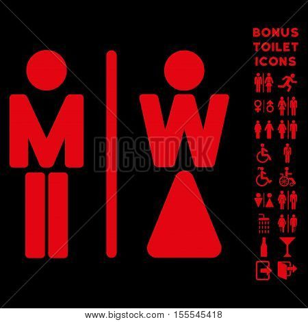 WC Persons icon and bonus male and lady WC symbols. Vector illustration style is flat iconic symbols, red color, black background.