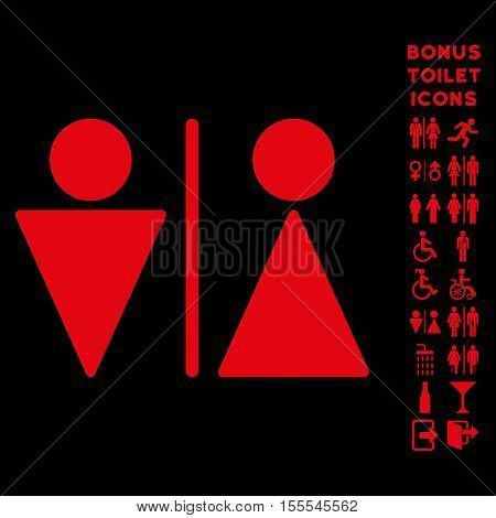WC Persons icon and bonus gentleman and female WC symbols. Vector illustration style is flat iconic symbols, red color, black background.