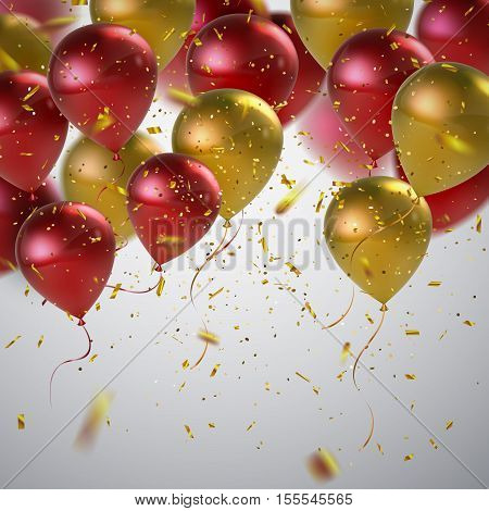Vector festive illustration of flying realistic glossy balloons. Red and golden balloons and golden confetti glitters. Decoration element for holiday event invitation design.