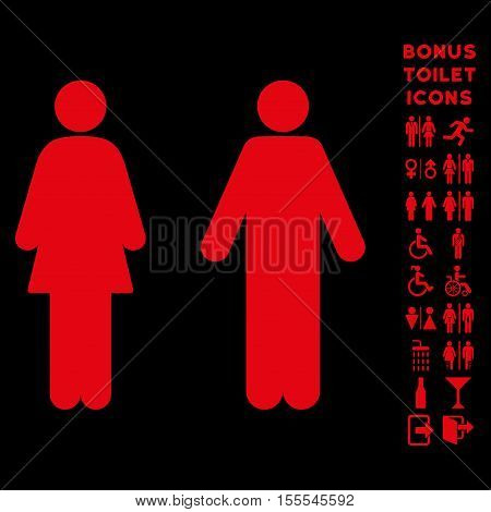 WC Persons icon and bonus male and lady lavatory symbols. Vector illustration style is flat iconic symbols, red color, black background.