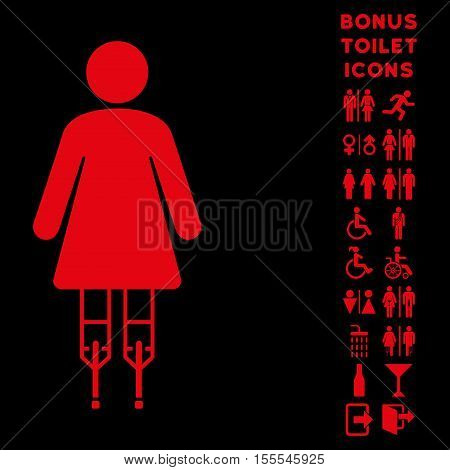 Woman Crutches icon and bonus man and female toilet symbols. Vector illustration style is flat iconic symbols, red color, black background.
