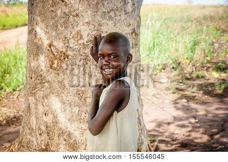 Uganda, Africa-  April 2, 2016: Child living in the Village near Mbale city in Uganda Africa