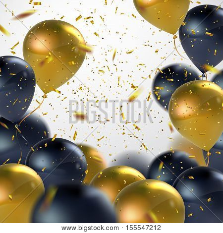 Black And Golden Balloons With Holiday Confetti. Vector Holiday Illustration Of Flying Black And Golden Balloons With Confetti Glitters. Award Ceremony Or Other Holiday Event Decoration Element