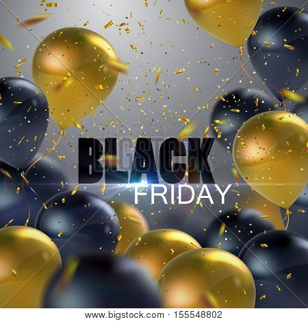 Black Friday Sale. Vector illustration of flying realistic glossy black and golden balloons, confetti glitters and Black Friday Sale sign