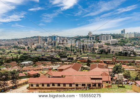 Kampala, Uganda- March 2, 2016: View from the above of the Capital city Kampala in Uganda Africa