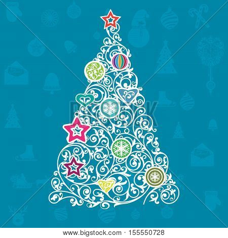 Christmas greeting card with bright christmas tree made of swirls, with blue background good for flyers, brochures, backdrops, wall paper or as element of bigger design