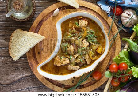 Traditional Georgian Hot Ragout With Meat And Vegetables (eggplant, Peppers, Tomatoes). Buglama Geor