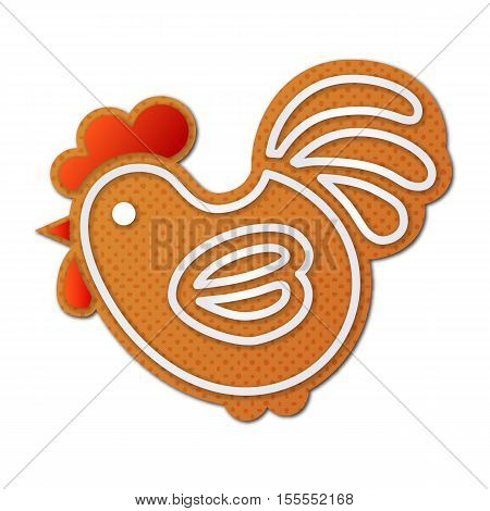 Gingerbread cock, or rooster - symbol of New Year 2017 - isolated on white background. Holiday cookie in shape of cockerel. Art vector illustration.
