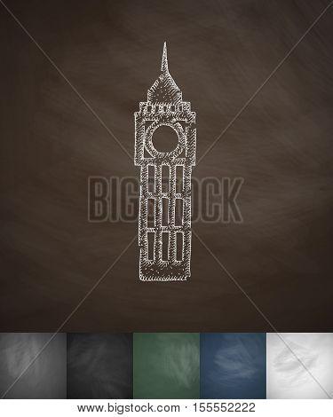 Big Ben icon. Hand drawn vector illustration. Chalkboard Design
