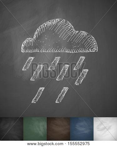 cloud rain icon. Hand drawn vector illustration. Chalkboard Design