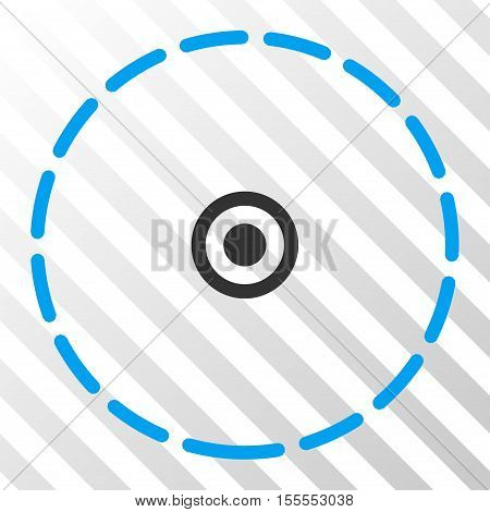 Round Area vector pictogram. Illustration style is flat iconic bicolor blue and gray symbol on a hatch transparent background.