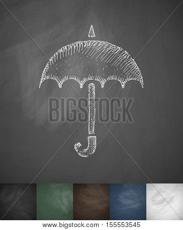 umbrella icon. Hand drawn vector illustration. Chalkboard Design