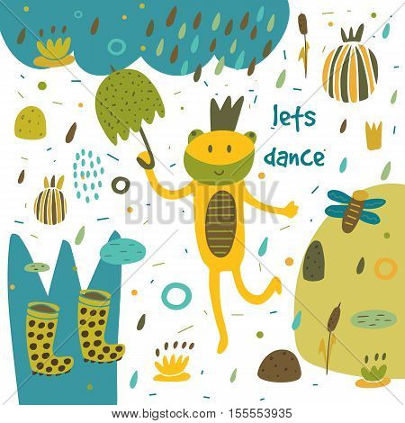 Cute hand drawn card postcard with frog swamp rubber boots rain umbrella water lily plants flowers hearts polka dots abstract elements Background cover for children in cartoon style