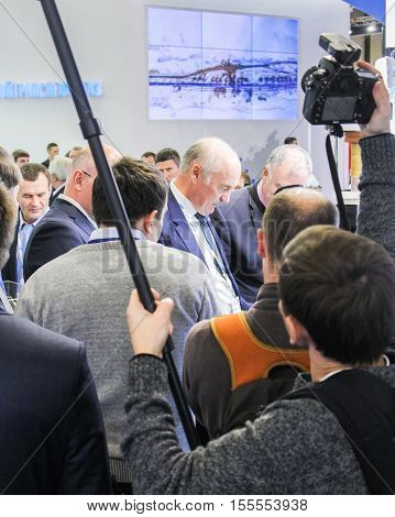 St. Petersburg, Russia - 4 October, A crowd of business people at Gas Forum, 2016. Petersburg Gas Forum which takes place in Expoforum.