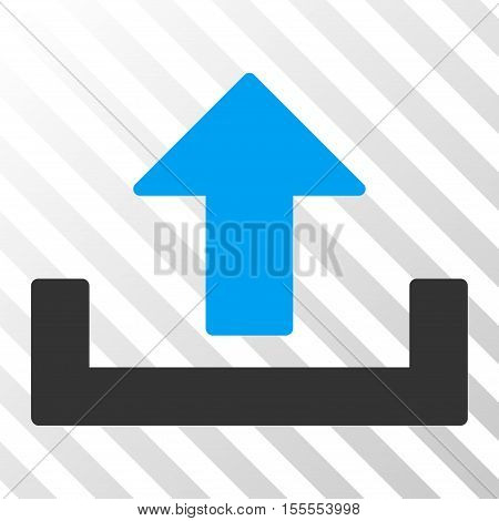 Upload vector pictogram. Illustration style is flat iconic bicolor blue and gray symbol on a hatch transparent background.