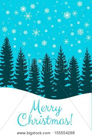Christmas card with fir trees forest and snowfall on blue background