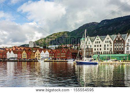 BERGEN, NORWAY - Aug 3, 2016: Sea front in historical part of Bergen, Norway.