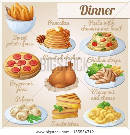 Set of food icons. Dinner. Sweet potato fries, pancakes, pasta with tomato cherries and basil, pepperoni pizza, roasted chicken, chicken strips, pelmeni, sandwiches, macaroni and cheese