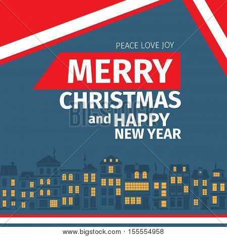 Modern style red blue white color scheme christmas card and happy new year wish on white background. Flat design element. Bright mood. Old european houses