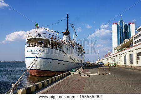 ODESSA Ukraine - August 23, 2016: Cruise ship ADRIANA came into the port of Odessa, Ukraine Odessa is the biggest port of Ukraine.