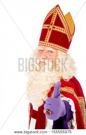 Dutch saint Nicholas  portrait. Thumbs up. isolated on white background. Dutch character of Santa Claus