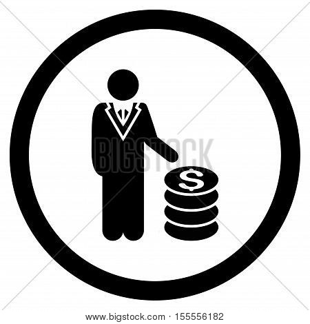 Businessman rounded icon. Vector illustration style is flat iconic symbol, black color, white background.