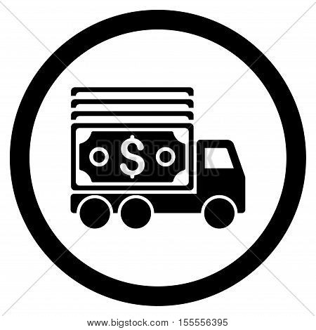 Cash Lorry rounded icon. Vector illustration style is flat iconic symbol, black color, white background.