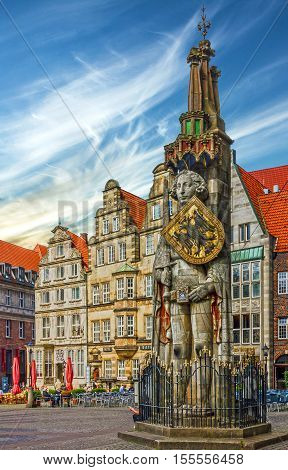 Bremen Germany - Sep 6, 2016: Statue of Knight Roland on Market square of old town (Marktplatz).