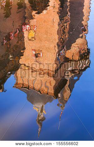 Reflection in the water castle 'De Haar', in the province of Utrecht, the Netherlands